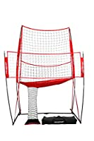 PowerNet Volleyball Practice Net Station | 8 ft Wide by 11 ft High | Ball Return | Great for Hitting and Serving Drills | Perfect for Team or Solo Training | Three Minute Setup | Bow Style Frame by PowerNet