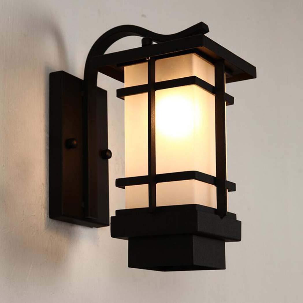 Lampada da parete per esterni LED retro vetro lampada da parete Corridoio corridoio Balcone villa giardino Impermeabile a prova d'umidità di ferro Wall Wall Lights, E27 YDYG