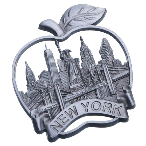 (Big Apple New York Souvenir Metal Fridge Magnet Brooklyn Bridge NYC Statue of Liberty NY Empire State Building Chrysler Building Metal Magnet)