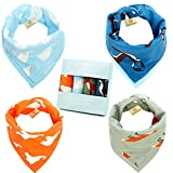 Baby Reversible Bandana Drool Bibs with Cute Pattern, 100 Absorbent Cotton, 4-Pack Gift Set for Girls & Boys