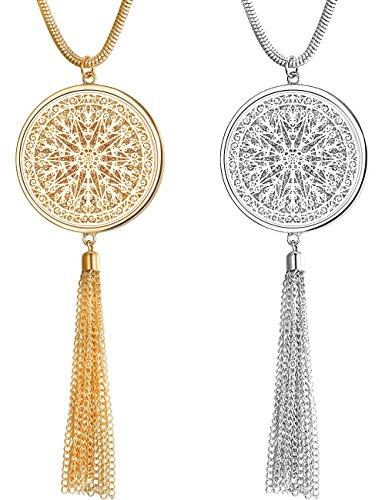 Finrezio 2 PCS Long Necklace for Women Disk Circle Pendant Necklaces Tassel Fringe Necklace Jewelry Set Statement Pendant