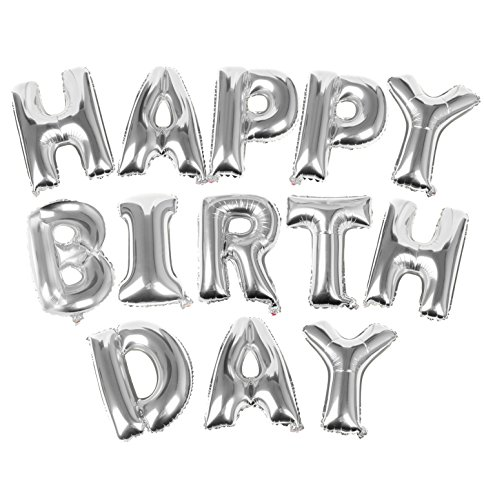 TRIXES Silver HAPPY BIRTHDAY Balloon Letters