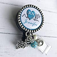 Personalized RN Nurse ID Badge Reel, Blue Nurse Gift, Same Day SHIPPING, LPN BSN Custom name RN Retractable ID holder, Nurse Graduation