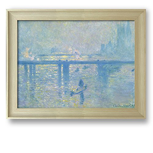 Framed Art Charing Cross Bridge 1899 by Claude Monet Famous Painting Wall Decor Natural Wood Finish Frame
