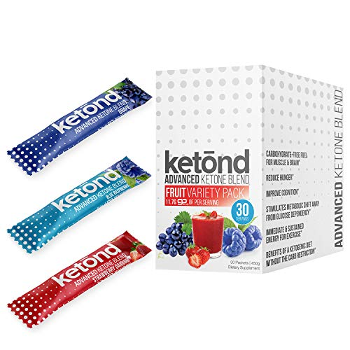- Ketond Advanced Ketone Supplement - 30 'On the Go' Packs - Exogenous Ketone Supplement 11.7g of BHB Salts to Lose Weight, Increase Energy & Focus (Grape, Blue Raspberry, Strawberry Daiquiri)
