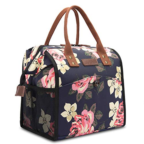 CoolBELL CMFLYD0473 Women Floral Tote Water-Resistant Cooler Bag Soft Leak Proof Box Insulated Lunch Holder with Wide Opening for Wome, M, Peony - Floral Thermal Tote