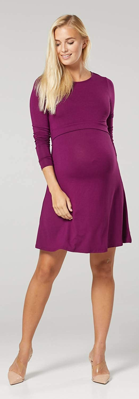 128c Womens Maternity Nursing Layer Dress Round Neck Long Sleeve Zeta Ville
