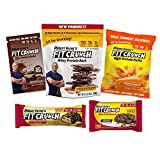 FITCRUNCH Keto Friendly Sampler Box | Sample Snack Box | Designed by Robert Irvine | Protein Bark, Protein Bar, Protein Puff, Protein Brownie & Protein Powder (5 Pack)