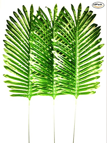 Gecter Lot of 10 Tropical Leaves,Fake Artificial Palm leaf for Home Kitchen Party Decorations(Green1) -