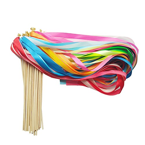 Ribbon Wands Mix Color Chromatic Silk Ribbon with Bells Fairy Stick Wish Wands for Wedding Party Activities(Pack of 30)