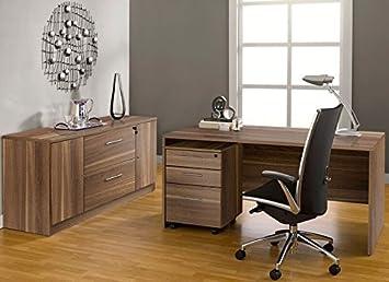 Jesper Office 1C100008MWL Executive Office Desk With Credenza, Walnut