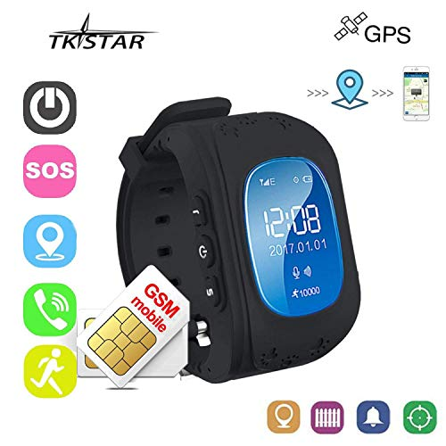 JUNEO Smart Watch GPS Tracker for Children Two Way Communication GPS LBS  AGPS Location Student/Kids with Pedometer Fitness (Black)