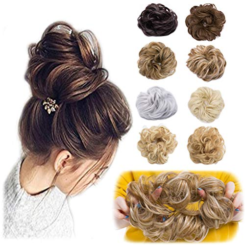 Scrunchy Updo Wavy Straight Hair Bun Clip Messy Donut Chignons Synthetic Hairpiece Hair Extension 2pcs brownish black