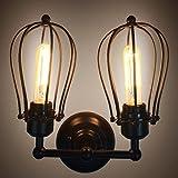 JIN Retro Double Grapefruit Wall Lamp American Country Iron Antique Corridor Aisle Lights LED Wall Lamp , Black