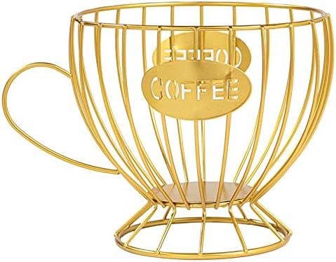 Copa De Café Creativa De Hierro Forjado, Puerta De La Cápsula De Café, Caramelo De Hierro Forjado Y Puerta De Frutas Secas, Adecuado Para Sala De Estar, Dormitorio, Cafetería, Hotel (1Pcs),Oro