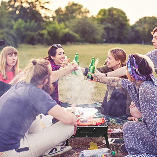 RenFox Barbacoa de Carbón para 3-5 Persona Portátil con Parrillas y Pies Plegables Barbecue de Exteriores para Picnic, jardín, Camping, Fiesta, Playa, Exterior (Pincel, Pinzas, Barbacoa Mat Incluido)