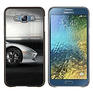 Caucho caso de Shell duro de la cubierta de accesorios de protección BY RAYDREAMMM - Samsung Galaxy E7 E700 - Coche de plata