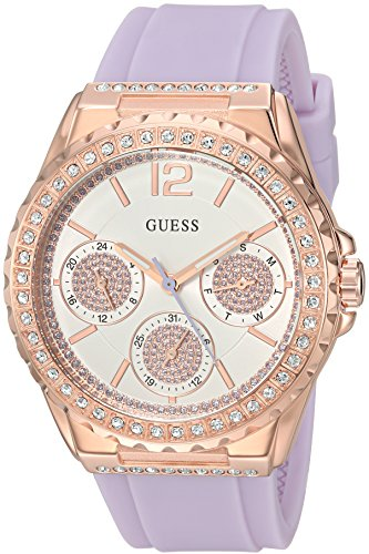 GUESS Women's Quartz Stainless Steel and Silicone Casual Watch, Color:Purple (Model: U0846L6)