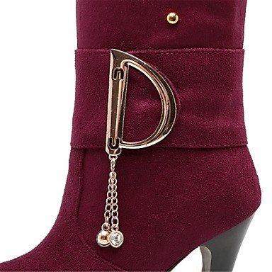 Heart&M Mujer Zapatos Terciopelo Otoño Invierno Botas de Moda Botas Tacón Stiletto Dedo redondo Botas altas Sobre la Rodilla Remache Hebilla Para black