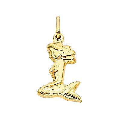 Amazon 14k yellow gold mermaid pendant charm jewelry 14k yellow gold mermaid pendant charm aloadofball Choice Image