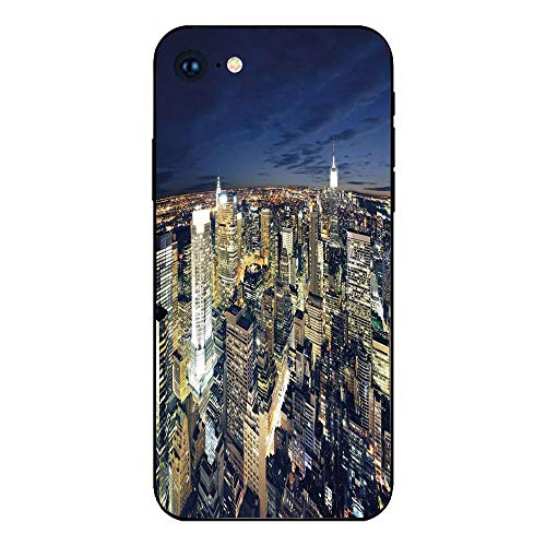 Phone Case Compatible with iphone7 iphone8 mobile phone covers phone shell Brandnew Tempered Glass Backplane,Urban,Modern Cityscape After Sunset Manhattan New York USA Architectural View,Yellow Tan Da