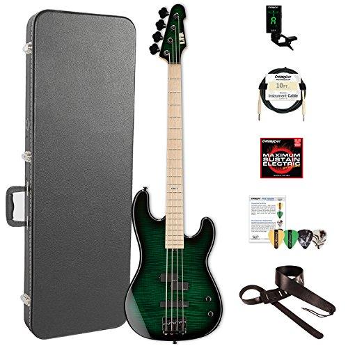 ESP LMM4FMDSTGSB-KIT-2 Marco Mendoza Signature Series 4-String Electric Bass, Dark See Thru Green Sunburst by ESP