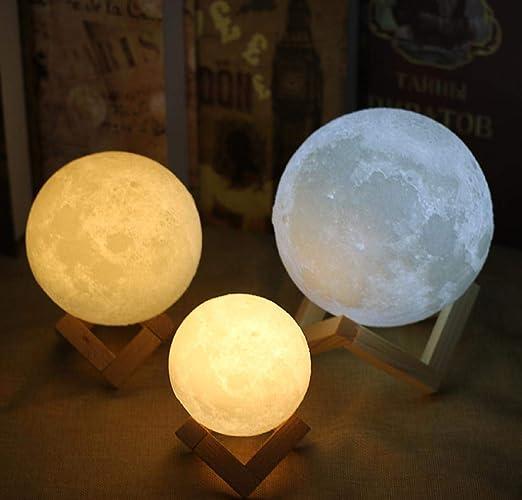 Lune Lampe Veilleuse 3D Lunar Lampe de table Moonlight rechargeable Chargeur USB