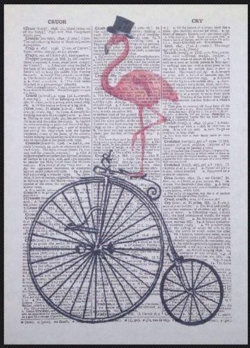 Vintage rosa fenicottero Penny Farthing dizionario pagina Wall Art Picture bici homemade