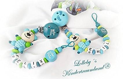 Baby Chupete Cadena con nombres - Géminis - Oso de peluche ...