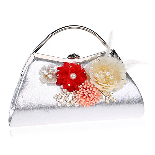 Bridal Handbag Flowers Bag Wedding Party Silver Prom Clutch Evening Ladies Shoulder For Bag Purse Women Clubs Gift qzXIw5