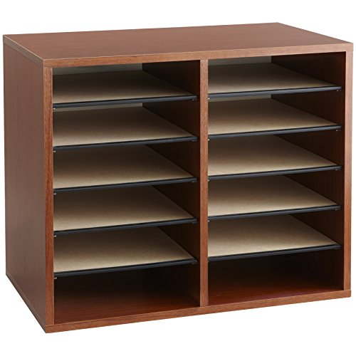 Cherry Storage Desk (Safco Products 9420CY Wood Adjustable Literature Organizer, 12 Compartment, Cherry)