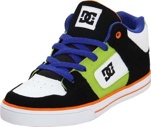 - DC Kids Radar Sneaker (Little Kid/Big Kid),Black/White/Orange,5.5 M US Big Kid