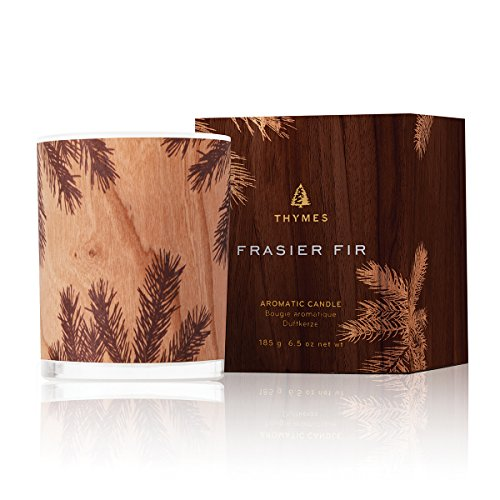 (Thymes Frasier Fir Northwoods Candle with 40-Hour Burn Time-6.5 Ounces, Tones, Wrapped in Wood Veneer )