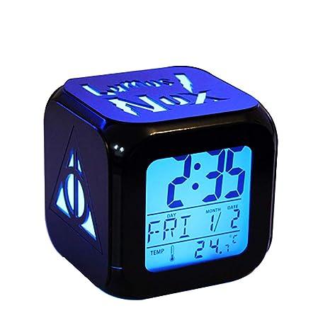 QIANXIAN Relojes despertadores Harry Potter,Retroiluminación Azul Colorido Relojes despertadores,The Deathly Hallows LED