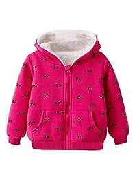 Happy childhood Little Kids Girls' Sherpa Fleece Lined Zip up Hoodie Jacket Coat Long Sleeve Warm Sweatshirt Outfit