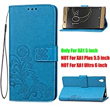 """Sony Xperia XA1 Case 5"""",B1ST Folio Wallet Case [Credit Card Slot] [Synthetic Leather Kickstand Flip Cover] Magnetic Closure with Wrist Strap for Sony Xperia XA1 G3121 G3112 G3125 G3116 G3123 (Blue)"""