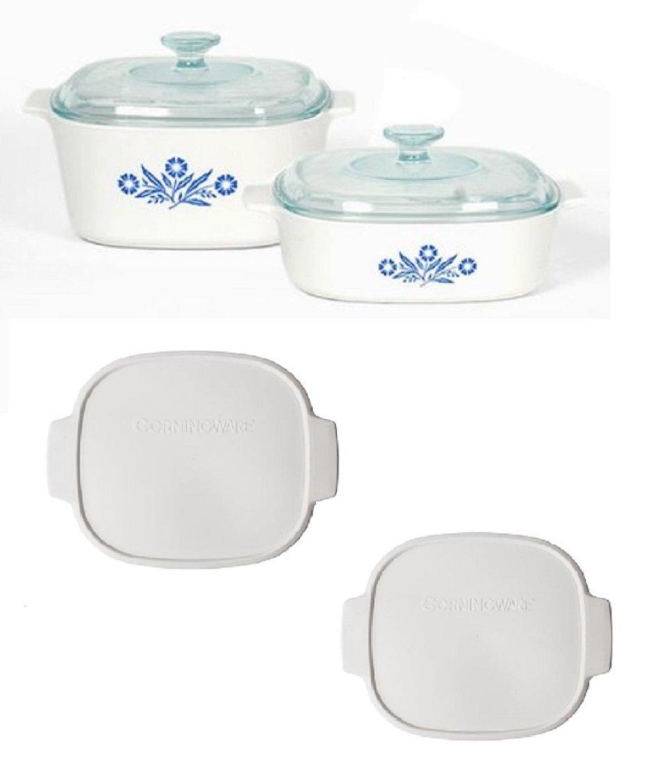 Corningware Pyroceram Blue Cornflower Glass Ceramic Cookware Bundle (Four Piece with TWO Plastic Tops)