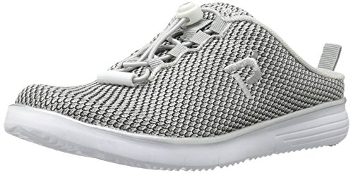 Propet Women's TravelFit Slide Walking Shoe, Silver/Black, 11 4E US