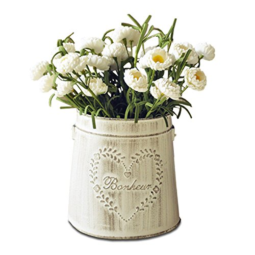 APSOONSELL French Country White Vases Decorative Rustic Metal Pitcher Tin Vase for Flowers Vintage Home Decor Country Home Flower