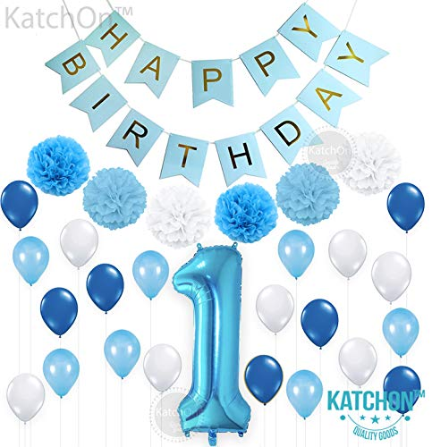 Happy Birthday Balloons With Names (KatchOn 1ST Birthday Boy Decorations Blue - Large, Pack of 30 | Baby Boy First Birthday Decorations | Number 1 Blue Balloon, Pompoms and Latex Balloon Pack| Happy Birthday Banner)