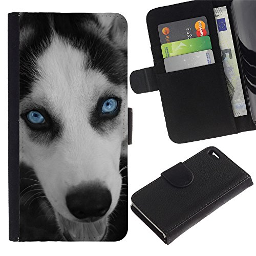 EuroCase - Apple Iphone 4 / 4S - husky eyes blue face muzzle dog - Cuero PU Delgado caso cubierta Shell Armor Funda Case Cover