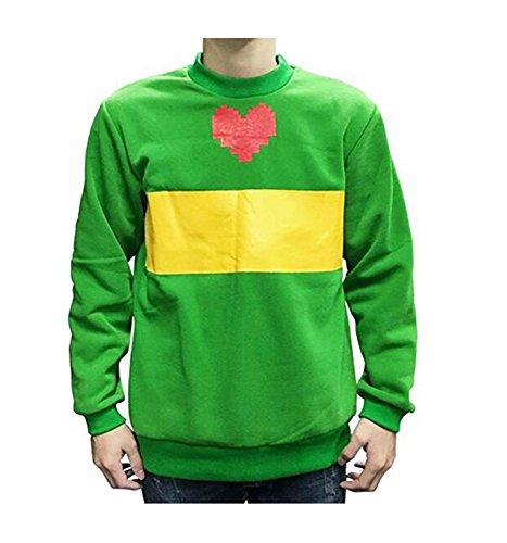 MaeFte Undertale Cosplay Costumes Hoodie Unisex Green Sweater Jacket Zipper Coat (M, Green)