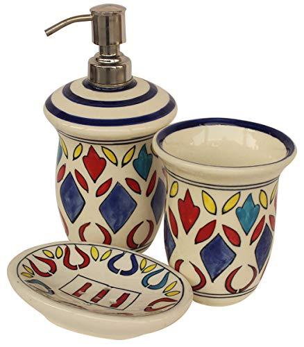 Set Hand Painted Bed (Crafkart Weekend Deals on 3 Piece Bath Accessory Set Multicolored Ceramic Bathroom Set Soap Dispenser, Tumbler & Soap Dish)