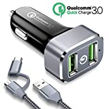 Car Charger, Powerman 36W Quick Charge 3.0 Dual USB Car Charger with 3FT 2 in 1 Type C and Micro USB Cable for iPhone X 8 7s 7 6s Plus,Samsung Galaxy S9 S8 S7 Edge Plus,LG G6 V20 V10,Pixel 2 Xl,iPad