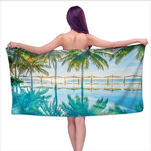 - Glifporia Bath Towel wrap for Women Landscape,Pool by The Beach with Lights Seasonal Eden Hot Sunny Humid Coastal Bay Photo,Green Blue,W10 xL39 for Youth Girls Cotton