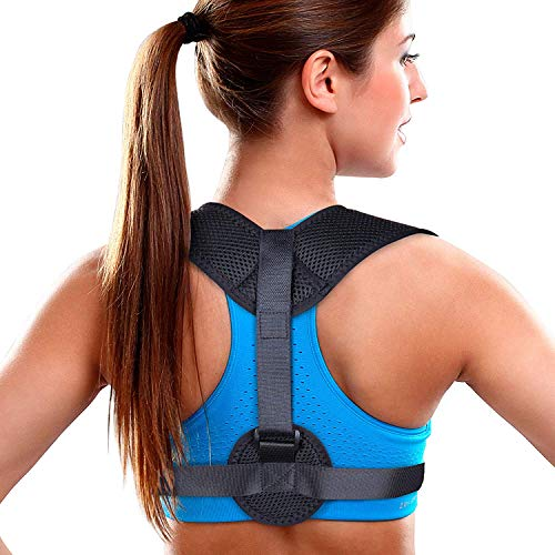 Aroamas Posture Corrector for Women & Men, Relieves Upper Back & Shoulders Pain, Corrects Slouching, Hunching & Bad Posture, Clavicle Support Adjustable Brace, Chest 28