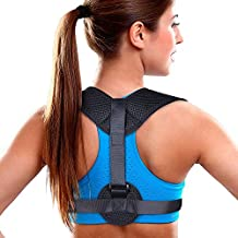 "Aroamas Posture Corrector for Women & Men, Relieves Upper Back & Shoulders Pain, Corrects Slouching, Hunching & Bad Posture, Clavicle Support Adjustable Brace, Chest 28""-47"""