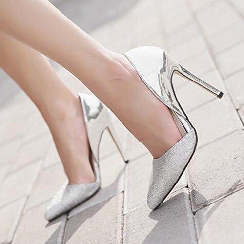 Scarpe Da Donna Sexy Con Paillettes Elasticizzate E Scarpe Con Tacco A Spillo In Pelle Argento