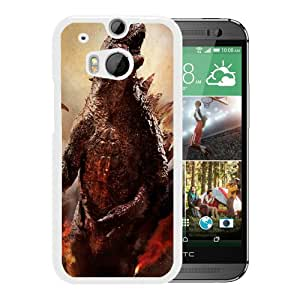For HTC ONE M8,Godzilla 2014 White Protective Case For HTC ONE M8
