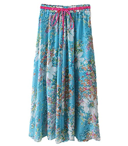 YuanDian Mujer Verano Plus Size Casual Gasa Gran Oscilación Bohemia Retro Literatura y Arte Impresión Flor Estilo Falda Larga Cordón Playa Delgado Maxi Faldas Azul Claro